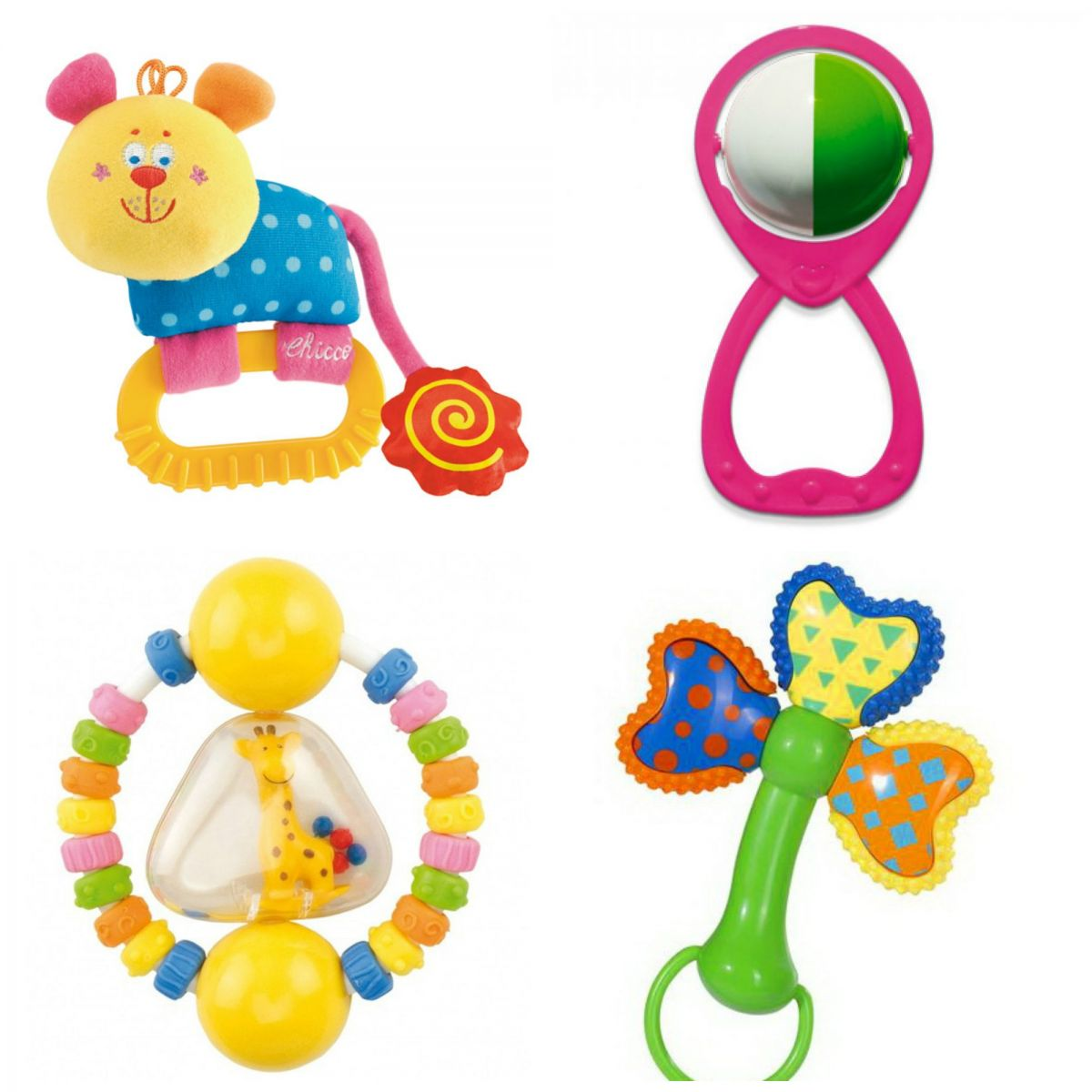 Toys for a month-old baby. Rattles