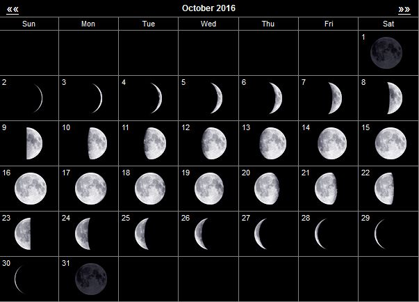 The moon in october 2016