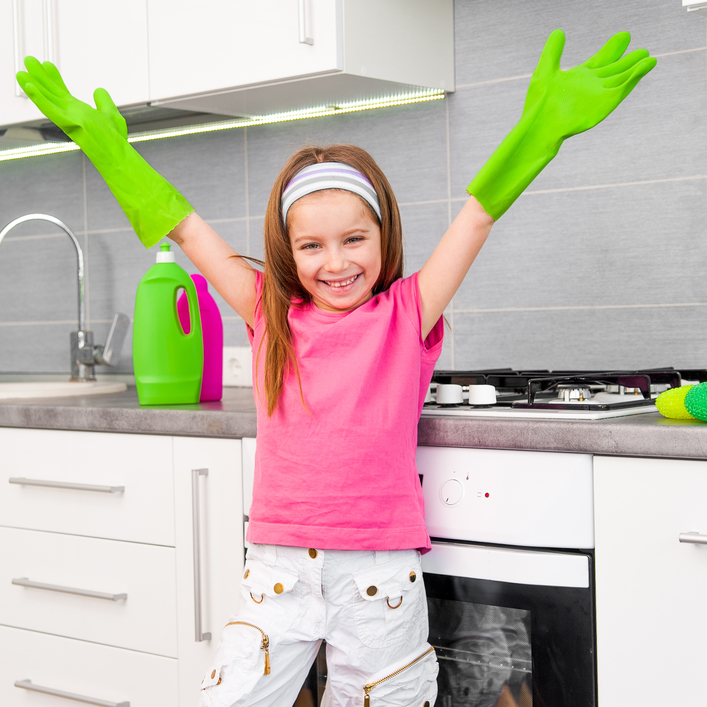 cleaning with children